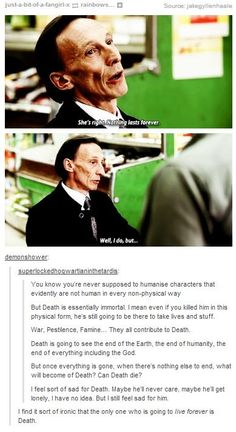 """Supernatural - Death is the only one who will live forever - """"Eating food, reaping things, the final business."""" <----- I pinned it just for the comment"""