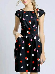 Polka Dots Printed Date Short Sleeve Sheath Crew Neck Midi Dress Cute Dresses, Casual Dresses, Dresses For Work, Wrap Dresses, Midi Dresses, Wrap Dress Midi, Cool Winter, Dress Outfits, Fashion Dresses