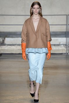 Rochas, Fall 2014.. Structured camel, powdered blues and burnt orange #mizustyle