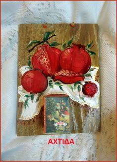 christmas craft -peinture au bois Pomegranates, Craft, Painting, Dragons, Manualidades, Woodwind Instrument, Paint, Grenades, Creative Crafts