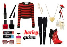 """""""Harleen Quinzel aka Harley Quinn"""" by d-luxe ❤ liked on Polyvore featuring Frame Denim, Glamorous, Jane Basch, RGB, Bony Levy, BCBGeneration, Lord & Berry, ASOS, Christian Dior and Prada"""