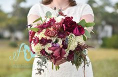 A Fall Wedding Designed by Southern Graces & Company | Lowcountry Bride | Purple Flowers | Bouquets