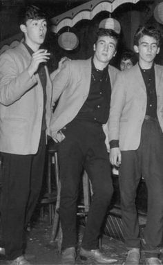 Beatles at the Indra Club, Hamburg, Germany. This is where they got their start in 1962 or 63. At the first club they worked in, they were noticed by the owner of another local club and hired to work at HIS place. The owner of the first club got upset and reported that Ringo was under age and he was deported back to England so the rest of the band followed. They went on to America in Feb '64 and the rest is history.
