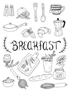 Breakfast Art Print by bweeber Doodle Drawings, Doodle Art, Coloring Books, Coloring Pages, Sketch Note, Food Doodles, Food Sketch, Food Drawing, Bullet Journal Inspiration