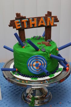 Nerf War Birthday cake, Nerf War Party, Nerf Birthday Party ideas, Army birthday…