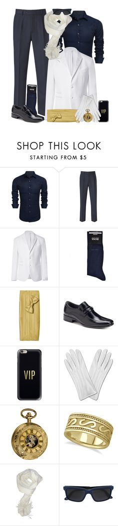 """""""Wedding Day Blues & Golds"""" by leighanned ❤ liked on Polyvore featuring Skopes, Neil Barrett, BOSS Black, Apt. 9, Casetify, Akribos XXIV, Allurez, Paul Smith, men's fashion and menswear"""