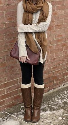 Beige boots, grey socks, black leggings or tights, beige shirt or sweater Cute Fashion, Look Fashion, Fashion Beauty, Womens Fashion, Fashion Boots, Fashion Outfits, Fall Winter Outfits, Autumn Winter Fashion, Winter Wear