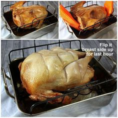 Step-by-Step Guide to The Best Roast Turkey. A tried-and-true recipe for making a perfectly cooked and moist turkey every time. Detailed photos and tips take away the guesswork for beginner and experienced cooks. From The Yummy Life. Cooking Turkey Upside Down, Upside Down Turkey, Thanksgiving Recipes, Holiday Recipes, Best Roasted Turkey, Cooking Time, Cooking Recipes, Cooking Hacks, Cooking Gadgets