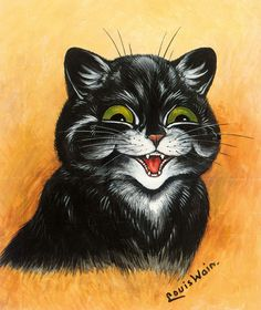 Louis William Wain The Contented Cat. Canvas, stretched canvas or fine art paper. A high quality fine art print reproduced on paper or canvas using quality giclee inks. We never reproduce artwork from images sourced from the internet or art books. Louis Wain Cats, Smiling Cat, Vintage Cat, Cat Drawing, Oeuvre D'art, Cats And Kittens, Cats Bus, Big Cats, Cat Art
