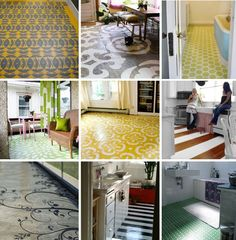 Back porch flooring ~ paint and stencils :) The yellow and white is my favorite! #stenciled #floor #paint #porch