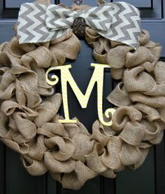 Chevron Wreath  Monogrammed Wreath  Personalized by OurSentiments, $65.00