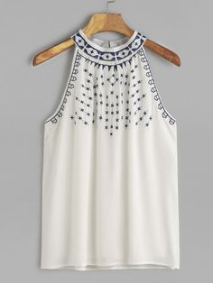 White Embroidered Halter Neck Top