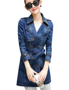 087b582d62 Tanming Women's Belted Double Breasted Long Denim Jean Jacket Trench Coat