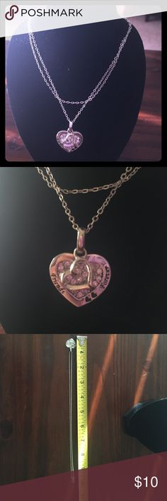 """Friends Forevee"" necklace Heart pendent reads ""friends forever"". Separate heart pendent lays on top. Jewelry Necklaces"