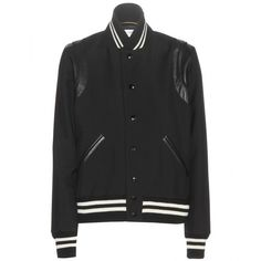 Saint Laurent Wool Bomber Jacket ($1,860) ❤ liked on Polyvore featuring outerwear, jackets, coats, tops, bomber jacket, black, bomber style jacket, wool bomber jacket, yves saint laurent jacket and blouson jacket