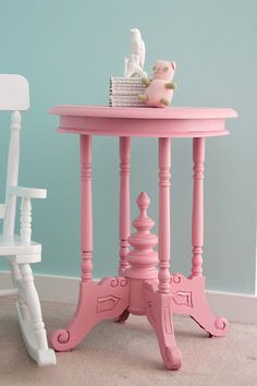 Aesthetic Nest: Room Design: Pink Spindle Table for Scarlett Pink Furniture, Hand Painted Furniture, Crate Furniture, Urban Furniture, Pretty In Pink, Decoration Bedroom, Pink Table, Pink Houses, Everything Pink