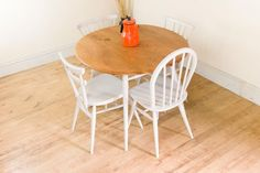 Vintage Retro Ercol Painted Table & Chairs Stacking Chiltern Stickback Windsor