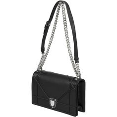 Dior Diorama Bag Black Grained Calfskin ($3,300) ❤ liked on Polyvore featuring bags and calfskin bag