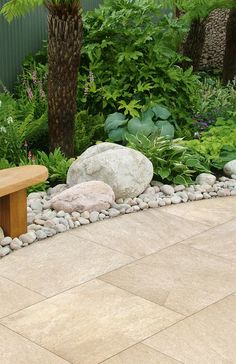 Garden Ideas Symphony Vitrified Paving www. Back Gardens, Small Gardens, Outdoor Gardens, Unique Garden, Small Garden Design, Garden Furniture Sets, Outdoor Garden Furniture, Outdoor Chairs, Garden Yard Ideas