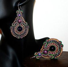 Beautiful Large Earrings Violet Green Yellow Bijoux by margoterie