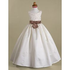 A-line Scoop Floor-length Satin Flower Girl Dress – AUD $ 82.63