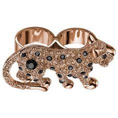 Mawi  Crystal Panther Ring in Rose Gold  £246