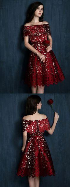 Wine Red Laser Cut Fold Off Shoulder Prom Skater Dress
