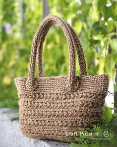 Crochet Star Stitch Tote with Jute Twine