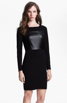 ugh leather i am obsessed DKNYC Long Sleeve Mix Media Dress | Nordstrom