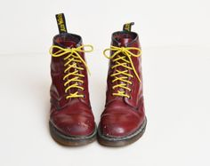 Vintage 90s Dr Martens Boots / 1990s Maroon Leather Lace Ups Boots