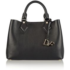 Diane von Furstenberg Voyage On-the-Go leather tote (14,325 THB) ❤ liked on Polyvore featuring bags, handbags, tote bags, black, black leather purse, black handbags, zippered tote and genuine leather handbags