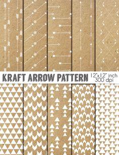 70 % de rabais vente Kraft papier numérique - Pack de papier « Kraft flèche Pattern » - papier Kraft avec flèche, Triangles, Tribal flèche
