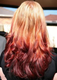 albums of Red Ombre On Dirty Blonde Hair Explore thousands red and blonde hair ombre - Ombre Hair Reverse Ombre Hair, Best Ombre Hair, Blond Ombre, Red To Blonde, Blonde Color, Blonde Highlights, Blonde Hair With Red Tips, Hair Color Auburn, Hair Color Dark