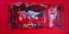 This large canvas painting Laughter in the rain 36x72 size is a large scale rectangular contemporary artwork for sale or rent www.artnrshinga.com #abstractart #originalart #redabstractart  #largecanvasart