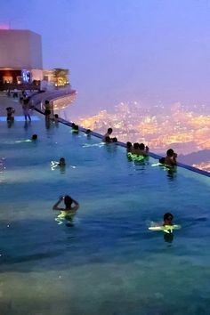 Marina Bay Sands in Singapore. Top floor of a casino with a 150 m swimmingpool and recreational section.
