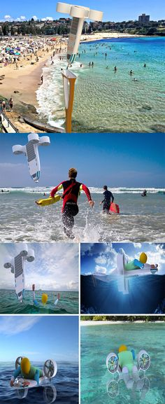 The 'Amphibious Joint Lifeguard UAV' is essentially a surveillance drone, but it does the job of a motorized flotation device too, the device hovers around vertically over the shore warning swimmers who swim too far into the ocean... READ MORE at Yanko Design !