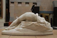 sublime sculpted flesh: La Jeune Tarentine (sculpted 1840-75!) by German-French sculptor Alexandre Schoenewerk (1820 Feb18-1885Jul23; d@65) (photo by orangeant 2009-03-12 via flickr 3494336534)• now at Musée d'Orsay • http://en.wikipedia.org/wiki/Pierre_Alexandre_Schoenewerk