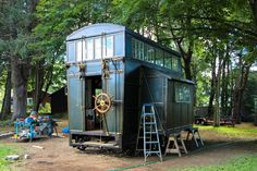 Steampunk Steamer Trunk - A Tiny House Contraption on Wheels | New Hampshire Public Radio