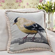 Queenie® - 1 Pc Embroidery Cotton Linen Decorative Pillowcase with Cord Throw Pillow Case Cushion Cover for Sofa 18 X 18 Inch (45 X 45 Cm) (Yellow Bird) Queenie Wong http://www.amazon.com/dp/B010PLUYLS/ref=cm_sw_r_pi_dp_M8hbxb0FN2T92