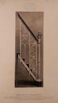 Archivbild: Schloß Hernstein, Schmiedeeisernes Stiegengeländer mit getriebenen Ornamenten
