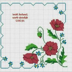 Poppies, Cross Stitch, Tray, Bullet Journal, Embroidery, Patterns, Cross Stitch Rose, Cross Stitch Alphabet, Sewing Ideas