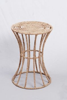Selamat Designs - Spool Table, wire frame with a hand-woven jute exterior.  Showroom: IHFC Interhall 004  #hpmkt