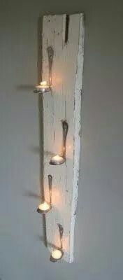 Spoon candle holder – World of Light Home Crafts, Diy Home Decor, Diy And Crafts, Silverware Art, Cutlery, Recycled Silverware, Deco Originale, Barn Wood, Wood Projects