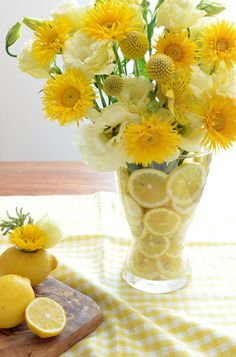 Love the yellow flowers combined with the lemon a wonderful way to welcome spring!