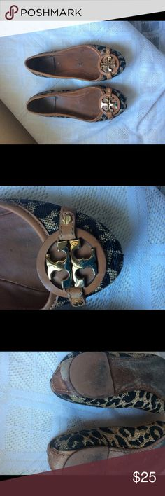 Tory burch flats Good condition cheetah print  Tory burch flats with gold logo all wear and flaws are pictured Tory Burch Shoes Flats & Loafers