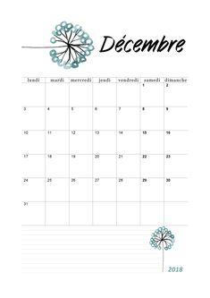 Calendrier mensuel 2018 : mois de décembre Print Calendar, Calendar 2020, Bullet Journal, Pixel Art, Bujo, Study, Scrapbook, How To Plan, Origami