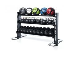 Storage Solutions › Gym equipment accessory storage racks.