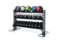 Storage Solutions › Gym equipment accessory storage racks.