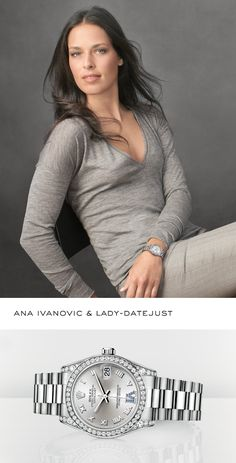Tennis great Ana Ivanovic sporting a Rolex Lady-Datejust. Cool Watches, Rolex Watches, Diamond Watches, Ana Ivanovic, Swiss Army Watches, Luxury Watches For Men, Women Wear, Fashion Outfits, Lady