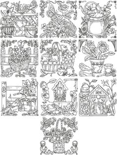 Blackwork embroidery but would be awesome colored/painted or embroidered in color. Enlarge individual pic(s) and use on canvas.